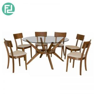 MALACHI Pandora Dining Set (1+6) - (Top) 10mm Tempered Glass (Clear) -(Base) Beech wood in Wenge stain