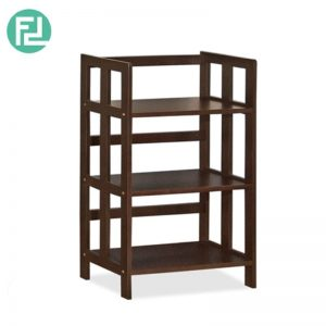 PHDEGREE 3 Tier Bookcase - Solid rubber wood + MDF