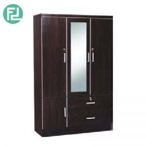 LARCH  3 door wardrobe with mirror - 2 drawers with key lock