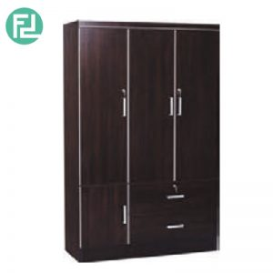 LARCH  3 door wardrobe - 2 drawers with key lock