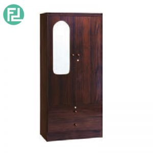 LARCH  2 door wardrobe with mirror - 2 drawers with key lock