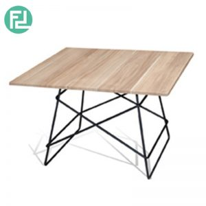 DBOT Square Coffee Table - Solid Rubber Wood Top - Metal Legs