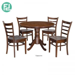LANDO 1050mm RD Dining Set (1+4) - Natural/Cappuccino