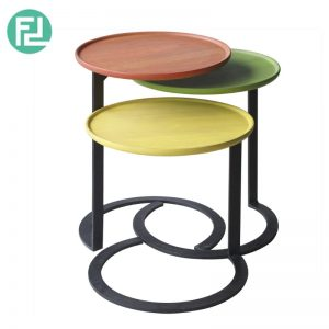 CEREE 3 In 1 Nesting Table - Multi Colours - (Frame) Metal in black epoxy coating