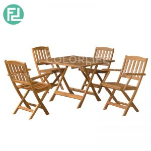 MIDSQUARE Newbury Set (1+4) - SQ FOLDING TABLE + 4PCS NEWBURY ARM CHAIR/CHAIR