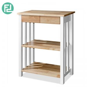 RAMPO (L68cm) High Console Rack with Drawers - Full solid rubber wood