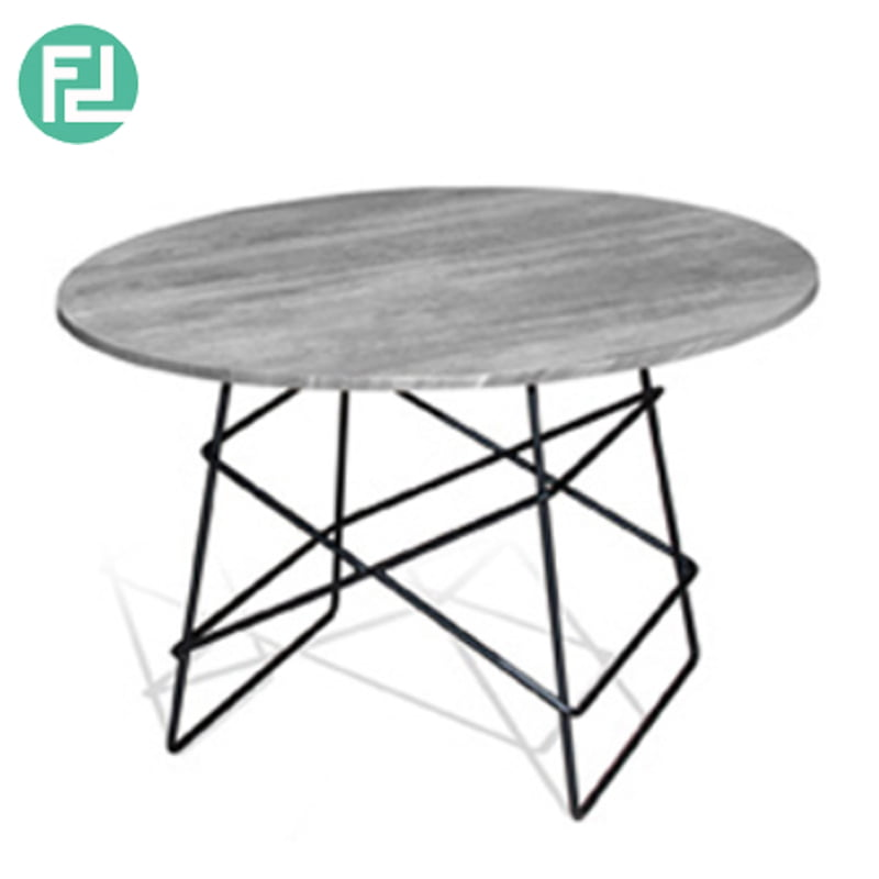 Dbot Wolf Round Coffee Table Solid Rubber Wood Top Metal Legs
