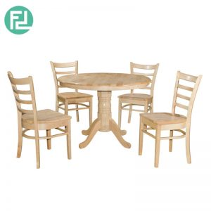 VENGE 1050mm RD Dining Set (1+4) - Natural White/Cappuccino