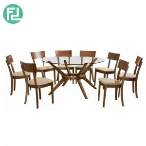 MALACHI Pandora Dining Set (1+8) - (Top) 10mm Tempered Glass (Clear) -(Base) Beech wood in Wenge stain
