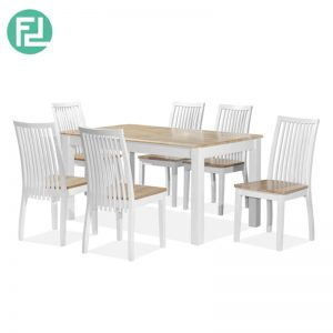 AVANUE 3′ x 5′ Dining Set (1+6)- NATURAL WHITE