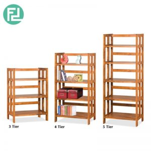 PHDEGREE 3+4+5 Tiers Book Case - Solid rubber wood + MDF