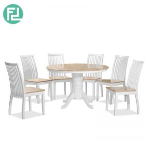 AVANUE 4′ ROUND Dining Set (1+6)- NATURAL WHITE