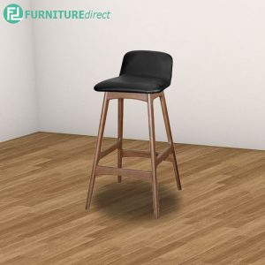 HUA 92cm solid rubberwood barstool- Walnut