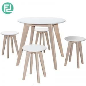 LEELA RD800 Dining Set (1+4) - Natural White