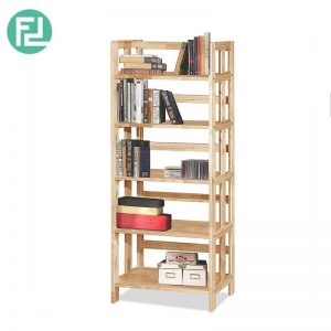 PHDEGREE 5 Tier Book Case - Solid rubber wood + MDF