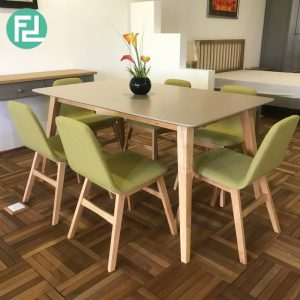 Clearance-ALTON solid wood 6 seater dining set-Green