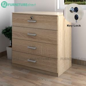 [CLEARANCE] BARDON 4 Drawer chest with key lock- oak