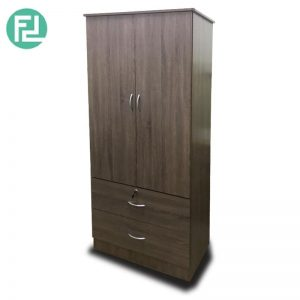 CROMER 2 Door 2 Drawers with key lock wardrobe -Walnut