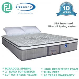 "DREAMLAND Chiro Essential 10"" Eurotop queen size miracoil spring mattress"