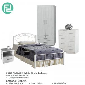 Bedroom Package- White single bedroom set