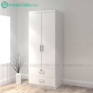 LIBERTY 2 Door 2 Drawer Wardrobe with key lock - Full white
