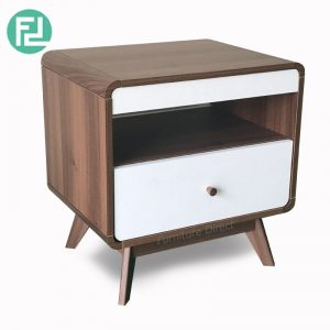 MACEY walnut effect bedside table- Walnut