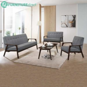 [CLEARANCE] MORRIS solid rubberwood frame sofa set with free coffee table