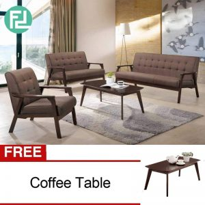 SOMERSET Solid Wood Sofa Set withi free coffee table-Brown