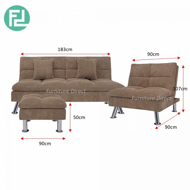 Sofa Set Size: SHELBY Recline Fabric Sofa Set-Light Brown