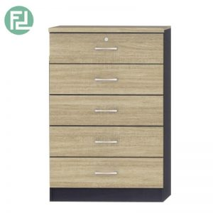 LEISTON 5 Drawer chest with key lock- oak/black
