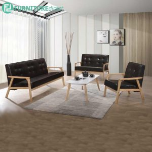 MORRIS solid rubberwood frame sofa set with free coffee table-3 colors
