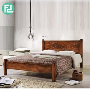 ALEXANDER N55515 solid wood queen size bed frame-Brown