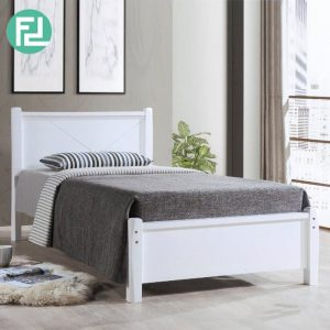 ALEXANDER SB139 wooden single bed frame-white