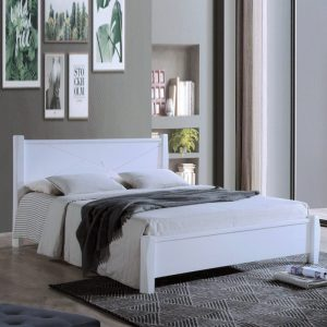 ALEXANDER DB55515 solid wood queen size bed frame-White