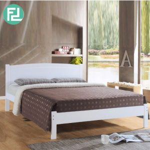 THOMAS DB2117 solid wood queen size bed frame-White