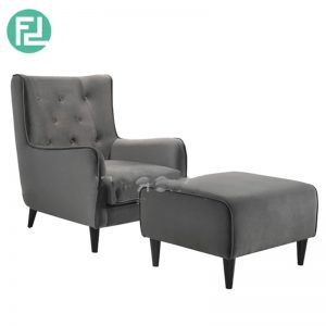 FINLAND fabric lounge chair with stool- Grey