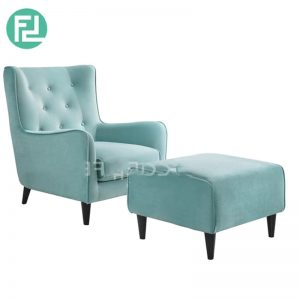 FINLAND fabric lounge chair with stool- Turquoise