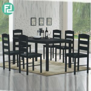 GL678 6 seater solid wood dining set- Cappuccino