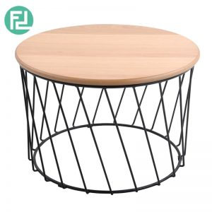 KODI oak veneer round coffee table-Oak
