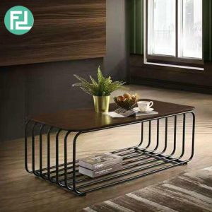 MARY solid wood top metal frame 4ft rectangular coffee table-Wenge