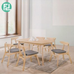 MODESTO 6 seater solid wood dining set-natural/ grey seat