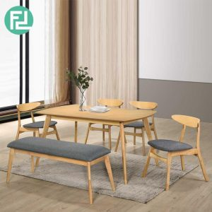 MODESTO 6 seater with bench solid wood dining set-natural/ grey seat