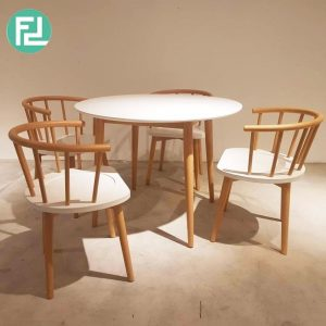 MALMO scandinavian solid wood 4 seater round dining set