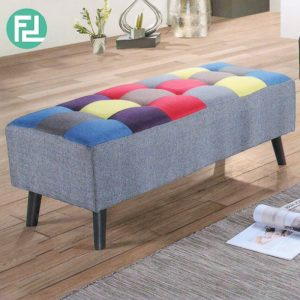 ST414 HANNAH 4 feet stripe fabric bench-grey