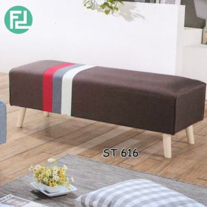 ST616 ESTHER 4 feet stripe fabric bench-brown