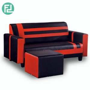 SOURIS L shaped 3 seater PVC sofa- Red