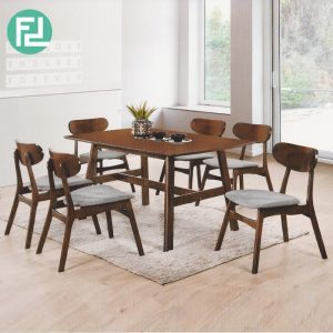 VINTER 6 seater solid wood dining set- walnut