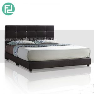 1001 queen size PU divan bed with diamond- dark brown