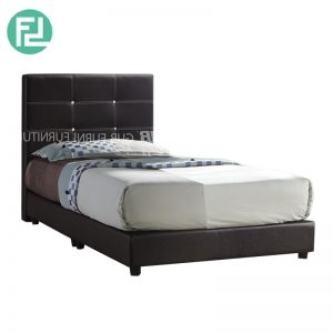 1001 super single size 3.5' PU divan bed with diamond- dark brown