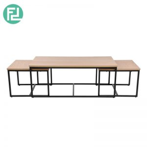 Daisy coffee table set of 3 with metal legs-oak veneer